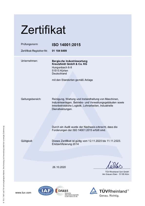Zertifikat ISO 14001:2015 von BIW