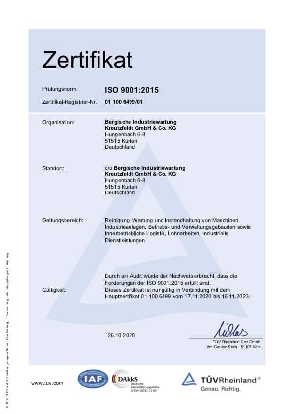 Zertifikat ISO 9001:2015 von BIW